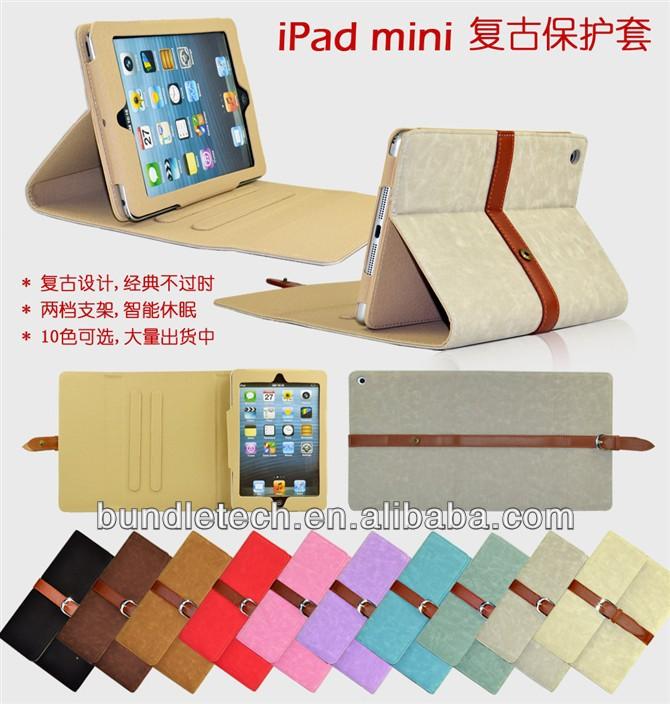 Full protective function case for ipad mini, retro unique design case for ipad mini
