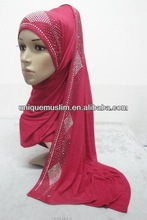 JL041 latest cotton jersey scarf with rhinestones,muslim hijab