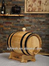 3L Black Hoop Oak Wood Wine Beer Liquor Barrel