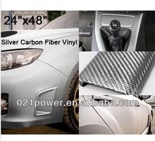 "3D White Silver Glossy Carbon Fiber Vinyl Film 24"" x 48"" Car Interior Exterior"