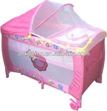 EN71 Folding Fortable Baby Crib Baby Playpen Baby Playard Play Yard Play Infant Crib Playpen Nursery Wheels Pen