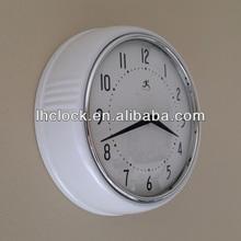 Infinity Instruments White Retro Metal Wall Clock 9 1/2 Inch