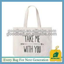 bulk white fashion silk screen logo canvas cotton tote bag