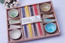 NEW Round shape Fine porcelain wedding souvenirs favor luxury Bowl/Chopstick/Chopsticks holder dinner plate sets