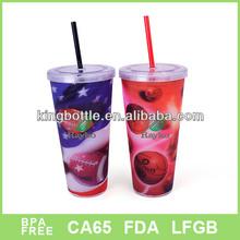 3D flash American basketball team design 22oz plastic straw mug