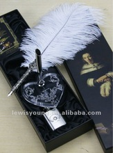 Luxury Ostrich Feather Ink Pen Gift Set /Feather Dip Pen with stand