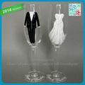 pintado a mano de la boda flautas tostado personalizada gafas champagne vestido de novia con cristales y el traje de novia copa de cristal