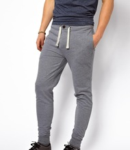 MENS CHARCOAL MELANGE SKINNY SWEAT PANT WITH BUTTON OPEN