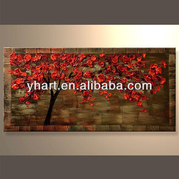 الجملة الفنية البسيطة ملونة زاهية طلاء أحمر شجرة على قماش