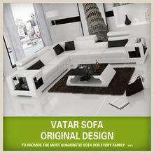 Beautiful white cow leather small corner sofa luxury home furniture