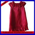 De gasa de color rojo sólido niñas baby rose tapa con pliegues- vestido de manga( kd- 051)