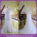 De imagen real! Manga de la tapa de encaje apliques de cuentas de gran tamaño de aniversario de la boda vestidos de largo tren de vestidos de novia