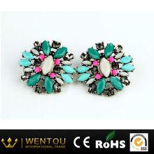 Big Fashion Jewelry Manufacturer Retro Minimalist Green Gemstone Earrings Round Eardrop for Women