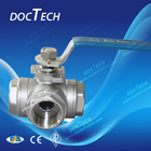 DN50 Three Way 1000psi L Type Stainless Steel Ball Valve