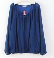 F60659R Big yards low round collar raglan long-sleeved blouse