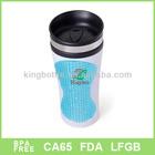 BPA free white travel mug with blue diamond , hot style 16oz travel mug