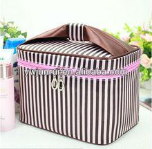 Black&white stripe women nylon travel cosmetic bag make up bag