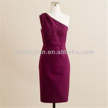 one-shoulder asymmetric women straight office dress OEM order