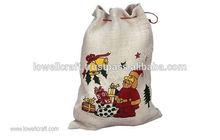 impreso de yute de navidad de regalo bolso de lazo
