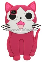 3D cat silicone case for iphone 5S, manufacturer in Dongguan