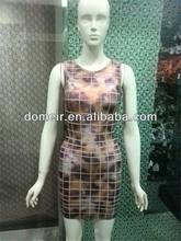 Top selling sleeveless women dress new arrival o neck neon bandage dress DM883