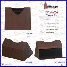 En bois à motifs en cuir PU Tissue Paper Box