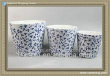 RYYF01 set of 3 pcs ceramic blue and white flower planter