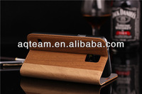 High quality Wooden grain Adsorption function leather case For Samsung galaxy S5