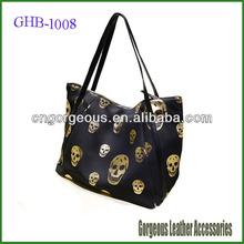 Wholesale Skull Hot-stamping Womens Hand Bag Black