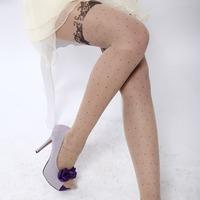 Splendid Skin Color Lace Bow Design Velvet Fashion Stockings