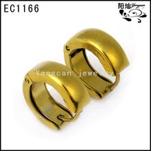 UNISEX Gold Stainless Steel Huggie Hoop Earrings pictures of gold earrings