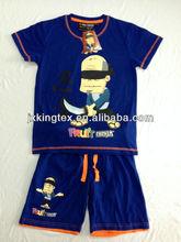 2014 newest printing design children clothing boys T-shirt sets 160gsm