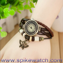 Fashion For Lady Leather Strap new fashion butterfly ring Vintage Quartz Watch