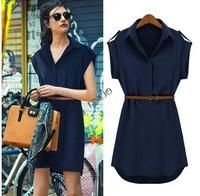 New 2014 Fashion Women's Short Sleeve Chiffon Casual Shirt Style Mini Dress With Belt plus size SV001455