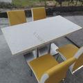 Unique mesa de jantar redonda, top venda de mármore mesa de jantar topo, mobília da sala de quatro lugares praça mesa de jantar