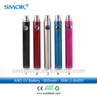 Hot selling e cigarette 650mah 900 mah 1500mah colored ego Smoktech aro vv ecig battery