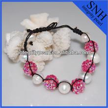 shamballa beads stretch pearl bracelet
