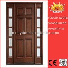 Luxury wooden wrought iron entry doors SC-W129