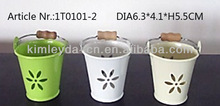 decorative powder coated tin bucket with wooden handle