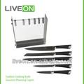 2014 liveon 5 шт нержавеющей стали кухонный нож с множеством акриловый блок ножа
