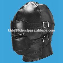Black Faux Leather Gimp Mask / Hood Fetish Blindfold Gag