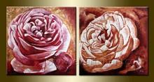 Handmade Canvas pink rose flower oil painting designs