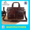top grade smooth brown leather handbag vintage for men