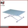 Plateau en verre métal cadre réglable en hauteur salle à manger de table