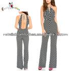 custom print latest design women backless jumpsuit