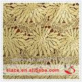 จีนgoldที่ทันสมัยโพลีเอสเตอร์100%ที่ละลายน้ำได้ออกกลวงemproideryผ้าลูกไม้สวิส