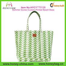 2015 Fashion Cotton Canvas Summer Dunes Custom Printed Beach Bags