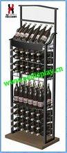 supermarket liquor wine display stand / metal flooring wine beverage display holder for retail shop