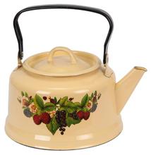 Steel Handle Cast Iron Water Pot Yellow Enamel Fruit Decal Cool Teapot Wholesale Decorative Tea kettles