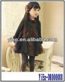 Kid roupas de algodão café vestido de manga comprida mais recente projeto vestido para crianças